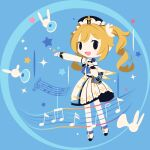 :d barbara_pegg beamed_eighth_notes black_eyes blonde_hair blue_background chibi cobalta detached_sleeves dress eyebrows_visible_through_hair genshin_impact holding holding_microphone latin_cross microphone musical_note open_mouth outstretched_arm sleeveless sleeveless_dress smile star_(symbol) twintails white_dress