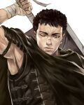 1boy absurdres armor bandaged_hands bandages berserk black_armor black_cape black_cloak black_hair brown_eyes cape cloak coreloart dragonslayer_(sword) expressionless guts_(berserk) highres huge_weapon lips looking_at_viewer male_focus manly miura_kentarou_(mangaka) one-eyed short_hair sword weapon weapon_on_back white_background