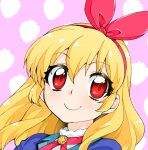 1girl aikatsu! aikatsu!_(series) akitsuki_itsuki blonde_hair bow bow_hairband closed_mouth hairband hoshimiya_ichigo long_hair looking_at_viewer pink_background portrait red_bow red_eyes red_hairband smile solo