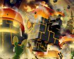 5boys :d burning commentary_request debris explosion fire flame glowing male_focus mega_man_(series) mega_man_battle_network mr._prog_(mega_man) multiple_boys napo netnavi no_humans open_mouth rock smile smoke stoneman.exe