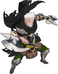 1boy armor artist_request axe bargen_(world_flipper) beard black_scarf blue_eyes boots brown_footwear clenched_hands closed_mouth dual_wielding facial_hair faulds fingerless_gloves forehead full_body gloves green_gloves green_pants hand_up highres holding holding_axe knee_pads legs_apart looking_at_viewer male_focus mustache non-web_source official_art old old_man pants scar scar_across_eye scar_on_face scarf shin_guards short_hair shoulder_armor solo spikes tomahawk torn_scarf transparent_background v-shaped_eyebrows vambraces white_hair world_flipper