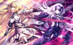 2girls absurdres armor blonde_hair blue_eyes braid detached_sleeves dual_persona fate/apocrypha fate/grand_order fate_(series) faulds flag fur_trim gauntlets headpiece highres jeanne_d'arc_(alter)_(fate) jeanne_d'arc_(fate) jeanne_d'arc_(fate)_(all) kousaki_rui long_hair multiple_girls open_mouth smile sword thigh-highs very_long_hair weapon yellow_eyes