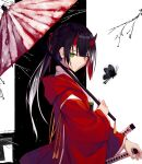 1girl black_background black_butterfly black_hair bug butterfly closed_mouth dress from_side gradient_hair green_eyes hair_ribbon horns insect katana long_hair long_sleeves looking_at_viewer multicolored_hair nagishiro_mito original ponytail red_dress red_umbrella ribbon snow solo sword twig two-tone_background umbrella upper_body weapon white_background white_hair