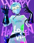 1boy alternate_costume aqua_eyes aqua_hair archer_(pokemon) bangs belt black_gloves buttons coat commentary_request from_below gloves halloween hands_up happy_halloween highres looking_at_viewer male_focus mask momoji_(lobolobo2010) mouth_mask pokemon pokemon_(game) pokemon_hgss purple_background short_hair solo twitter_username white_coat
