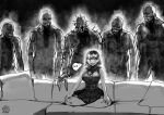 1girl 5boys ashley_graham belt breasts couch curtained_hair english_commentary full_body greyscale hands_on_lap highres indian_style large_breasts loose_belt meme monochrome monster_boy multiple_boys no_penis on_couch parody piper_perri_surrounded regenerator resident_evil resident_evil_4 ribbed_sweater sharp_teeth short_hair sitting skirt sleeveless sleeveless_turtleneck spikes surrounded sweat sweater sweater_around_neck teeth the_golden_smurf turtleneck upper_teeth you_gonna_get_raped zombie