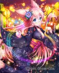 1girl blue_eyes blue_kimono breasts falkyrie_no_monshou festival flower glasses hair_flower hair_ornament japanese_clothes kimono large_breasts looking_at_viewer muffin_(falkyrie_no_monshou) night night_sky official_art paintbrush painting pink_hair sky yukata
