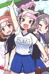 3girls :p animal_ears bear_ears bear_girl bear_paw_hammer bergman's_bear_(kemono_friends) blue_shorts brown_eyes brown_hair commentary_request eyebrows_visible_through_hair ezo_brown_bear_(kemono_friends) grey_hair gym_outfit headband kemono_friends kemono_friends_3 kitsunetsuki_itsuki kodiak_bear_(kemono_friends) light_brown_hair long_hair matching_outfit multicolored_hair multiple_girls official_alternate_costume one_eye_closed shirt short_hair shorts t-shirt tongue tongue_out translation_request twintails weapon white_shirt