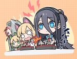 4girls arisu_(blue_archive) blue_archive blue_eyes blush_stickers cat_ear_headphones commentary_request eating hair_between_eyes hairband headphones long_hair midori_(blue_archive) momoi_(blue_archive) multiple_girls o_o peeking_out playing_games shishikai short_hair siblings simple_background twins yuzu_(blue_archive)