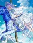 1girl book carousel dress fuzichoco horse long_hair md5_mismatch multicolored_hair original purple_hair resolution_mismatch sleeping solo source_larger white_dress white_hair white_headwear