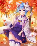 1girl animal_ears arrow_(projectile) blue_hair breasts falkyrie_no_monshou flower forest fox fox_ears fox_girl fox_mask fox_tail frilled_skirt frills hair_flower hair_ornament japanese_clothes leaf looking_at_viewer maple_leaf maple_tree mask medium_breasts nature official_art parfait_(falkyrie_no_monshou) skirt stardrop tail thigh-highs tree violet_eyes