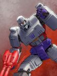 1boy alex_milne clenched_hand commission decepticon glowing glowing_eyes gun highres holding holding_gun holding_weapon insignia mecha megatron no_humans open_mouth orange_eyes science_fiction signature solo transformers weapon