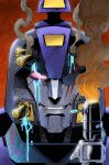 1boy alex_milne blurr bullet comic_cover derivative_work energon english_commentary glowing glowing_eye gun head_only highres looking_at_viewer mecha official_art one_eye_covered pink_eyes scar scar_across_eye science_fiction smile smoke smoking_gun solo the_transformers_(idw) transformers transformers_shattered_glass weapon