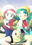 2girls bangs breasts brown_eyes brown_hair chikorita clenched_hands closed_eyes closed_mouth commentary_request cropped_jacket eyelashes gen_2_pokemon green_hair grin hat hat_ribbon highres jacket kris_(pokemon) lyra_(pokemon) multiple_girls overalls parted_bangs pokegear pokemon pokemon_(creature) pokemon_(game) pokemon_gsc pokemon_hgss red_shirt ribbon rindoriko shirt sitting smile starter_pokemon totodile twintails white_headwear white_jacket