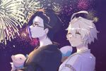2boys ahoge aladdin_(sinoalice) alternate_costume animal black_hair blonde_hair closed_mouth expressionless fan festival fringe_trim glasses hameln_(sinoalice) highres holding holding_animal japanese_clothes kimono looking_at_another multicolored_hair multiple_boys night night_sky pig purple_hair red_eyes ribbon short_hair sinoalice skky3 sky smile two-tone_hair
