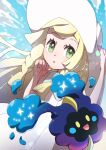 1girl bangs blonde_hair blush braid collared_dress commentary_request cosmog dress eyelashes floating_hair gen_7_pokemon green_eyes hand_on_headwear hands_up hat he72oh highres legendary_pokemon lillie_(pokemon) long_hair looking_at_viewer pokemon pokemon_(creature) pokemon_(game) pokemon_sm shiny shiny_hair sleeveless sleeveless_dress sun_hat sundress twin_braids white_dress white_headwear