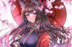 1girl amagi_(azur_lane) animal_ear_fluff animal_ears azur_lane bangs blunt_bangs blurry blurry_foreground blush breasts bridal_gauntlets brown_hair cherry_blossoms coat collar commentary_request eyebrows_visible_through_hair eyeshadow floating_hair fox_ears fox_girl hair_ornament highres holding holding_umbrella japanese_clothes kimono large_breasts long_hair looking_at_viewer makeup oil-paper_umbrella partial_commentary purple_kimono red_coat red_eyeshadow sakuramon sidelocks smile solo standing thick_eyebrows umbrella upper_body violet_eyes white_background wide_sleeves yukini_(yuki2maru)