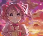 1girl arms_at_sides backlighting buttons center_frills choker closed_mouth clouds cloudy_sky collarbone crying crying_with_eyes_open dot_nose eyebrows_visible_through_hair flat_chest floating_hair flying_teardrops frilled_sleeves frills furrowed_brow gradient gradient_sky hair_ribbon hitode kaname_madoka light_blush looking_at_viewer mahou_shoujo_madoka_magica orange_sky outdoors pink_choker pink_eyes pink_hair pink_ribbon pink_sky puffy_short_sleeves puffy_sleeves purple_sky red_sky ribbon short_sleeves short_twintails sky smile solo soul_gem sunlight sunset tareme tears twintails yellow_sky