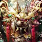 armor blonde_hair clenched_teeth commentary digimon digimon_(creature) disutihada fangs helmet highres horns looking_at_viewer multiple_horns no_humans red_eyes siesamon_x snout solo teeth thick_eyebrows upper_body