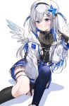 1girl amane_kanata angel angel_wings asymmetrical_legwear bangs beret between_legs black_dress black_gloves black_legwear black_ribbon blue_hair blue_legwear blush colored_inner_hair commentary dress frilled_dress frills gloves hair_between_eyes hair_ornament hairpin halo hand_between_legs hand_up hat highres hololive jacket kneehighs long_sleeves looking_at_viewer machi_(7769) multicolored_hair partially_fingerless_gloves playing_with_own_hair pleated_dress ribbon silver_hair single_kneehigh single_thighhigh sitting smile solo star_halo thigh-highs two_side_up violet_eyes virtual_youtuber white_background white_headwear white_jacket wings