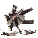 1girl agent_(girls_frontline) artist_request bangs black_dress black_footwear black_gloves black_hair boots breasts brown_legwear cable check_artist clothes_lift curtsey dot_triangle double_bun dress energy_gun garter_belt garter_straps girls_frontline gloves hair_over_one_eye head_tilt high_collar high_heel_boots high_heels highres infukun knee_up lace-trimmed_legwear lace_trim legs long_legs looking_at_viewer maid maid_headdress mechanical_arms medium_breasts official_art parted_lips plantar_flexion sangvis_ferri short_sleeves skirt skirt_lift solo stepping thigh-highs thigh_boots thighs transparent_background visible_air weapon yellow_eyes