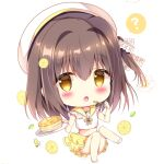 1girl :o ? azumi_kazuki bangs beret big_head blush brown_eyes brown_hair chibi commentary_request crop_top eyebrows_visible_through_hair food fruit full_body hair_between_eyes hat holding holding_plate holding_spoon knees_together_feet_apart layered_skirt lemon lemon_slice long_hair looking_at_viewer midriff one_side_up open_mouth original pancake plate pleated_skirt sailor_collar school_uniform serafuku shirt simple_background skirt solo spoken_question_mark spoon stack_of_pancakes white_background white_headwear white_shirt yellow_sailor_collar yellow_skirt