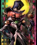 black_gloves black_headwear black_pants coat commentary cravat digimon digimon_(creature) disutihada full_moon gloves goggles goggles_on_headwear grey_coat grey_eyes hand_on_hip hat high_collar highres holding holding_scepter jack-o'-lantern long_sleeves looking_at_viewer moon multicolored multicolored_background no_humans noblepumpmon pants pumpkin scepter solo
