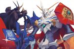 arm_cannon armor black_cape blue_eyes cape commentary_request copyright_name digimon digimon_(creature) full_armor kira_(kira_dra) looking_at_viewer looking_back no_humans omegamon omegamon_zwart red_cape red_eyes screen shoulder_armor shoulder_spikes simple_background sparkle spikes standing twitter_username weapon white_background