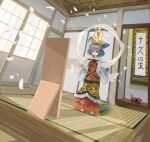 1girl absurdres animal_ears animal_print barefoot black_ribbon commentary_request cosplay dress dutch_angle full-length_mirror grey_hair hair_ornament hanging_scroll highres huge_filesize kakedashi mouse mouse_ears mouse_tail nazrin neck_ribbon o-ring partial_commentary petals red_dress red_eyes ribbon scroll short_hair shouji sliding_doors smile solo statue tail tatami tiger_print tokonoma toramaru_shou toramaru_shou_(cosplay) touhou wide_sleeves