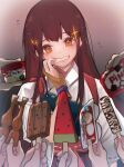 1girl 6+others akagi_(kancolle) brown_eyes brown_hair commentary_request food grin haagen-dazs highres ice_cream_cup japanese_clothes kantai_collection long_hair multiple_others muneate popsicle ruohire9 smile solo straight_hair tasuki upper_body watermelon_bar