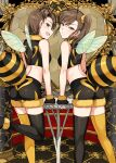 >:) 2girls :d antennae ass black_gloves black_legwear black_shorts blush breasts brown_eyes closed_mouth commentary_request crop_top fake_antennae fake_wings from_behind fur-trimmed_gloves fur-trimmed_shorts fur_collar fur_trim futami_ami futami_mami gloves hair_ornament hair_scrunchie heart highres idolmaster idolmaster_(classic) insect_wings leg_up looking_at_viewer looking_back mismatched_legwear multiple_girls one_side_up open_mouth scrunchie short_hair shorts siblings side_ponytail sleeveless small_breasts smile standing standing_on_one_leg table thigh-highs tsurui twins wings yellow_legwear