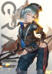 1girl absurdres animal_ears arknights armband blue_eyes character_name collar commentary eyebrows_visible_through_hair feet_out_of_frame grani_(arknights) grey_hair hand_on_hip head_tilt highres hip_vent holding holding_spear holding_weapon horse_ears infection_monitor_(arknights) leg_armor long_hair long_jacket looking_at_viewer one_eye_closed polearm police police_uniform ponytail simple_background smile solo spear standing taku57 uniform violet_eyes weapon