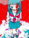 1girl absurdres bandaid bandaid_on_arm bandaid_on_face bandaid_on_leg bandaid_on_neck black_footwear blood blood_on_face blood_on_leg bloody_clothes blue_eyes blue_hair blue_sailor_collar blue_skirt commentary_request cuts edanoma_meu expressionless from_above highres holding holding_umbrella injury loafers looking_down neckerchief original pleated_skirt puddle rain red_neckwear red_sky ripples sailor_collar school_uniform serafuku shirt shoes short_hair short_sleeves signature skirt sky socks solo umbrella water_drop white_legwear white_shirt
