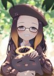 1girl beret black_ribbon blurry blurry_background blush brown_shirt commentary creature english_commentary fang glasses gradient_hair grin halo hat highres hololive hololive_english long_hair long_sleeves looking_at_viewer mole mole_under_eye multicolored_hair ninomae_ina'nis official_alternate_costume orange_hair petting pointy_ears profnote purple_hair ribbon shirt smile solo tako_(ninomae_ina'nis) upper_body violet_eyes virtual_youtuber