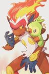 bright_pupils chitozen_(pri_zen) colored_sclera commentary_request creature eye_contact gen_4_pokemon gen_8_pokemon grey_eyes grookey hand_up highres infernape looking_at_another no_humans pokemon pokemon_(creature) pokemon_on_arm sparkle starter_pokemon twitter_username watermark white_pupils yellow_sclera