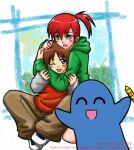 bloo blooregard_q_kazoo brown_hair brown_pants cartoon_network crayon foster's_home_for_imaginary_friends frankie_foster green_jacket mac_(foster's) red_hair red_shirt shoes sun white_sleeves window
