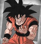 1boy black_hair bracer dragon_ball dragon_ball_z eegiiartto hand_on_own_chest highres male_focus muscular muscular_male open_mouth pain solo son_goku spiky_hair sweat
