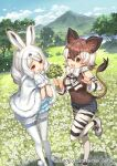 animal_ears animal_print arctic_hare_(kemono_friends) bare_shoulders boots bow bowtie brown_eyes brown_hair brown_shirt bunny_tail capelet clover commentary_request cutoff_jeans cutoffs detached_sleeves extra_ears four-leaf_clover fur_trim kawaku kemono_friends kemono_friends_3 meadow mittens official_art okapi_(kemono_friends) okapi_ears okapi_tail one_eye_closed pantyhose print_legwear print_neckwear print_sleeves rabbit_ears rabbit_girl red_eyes shirt short_hair shorts standing standing_on_one_leg tail white_capelet white_fur white_hair white_legwear white_mittens white_shorts zebra_print