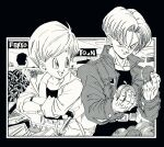 1boy 1girl arm_support belt box breast_pocket bulma_(future) collarbone crossed_arms denim denim_jacket dragon_ball dragon_ball_z eyelashes fenyon fingernails food fruit grin halftone hands_up high_collar holding holding_food indoors jacket leaning_forward looking_at_another looking_back looking_to_the_side monochrome mother_and_son open_mouth pectorals pocket shopping_cart short_hair smile supermarket trunks_(future)_(dragon_ball) very_short_hair watch watch watermelon wrinkles