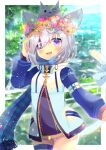 1girl :d animal_ear_fluff animal_ears black_dress blue_legwear blue_scarf blurry blurry_background blush cat_ears cat_girl cat_tail commentary_request day depth_of_field dress eyepatch fang flower flower_wreath fringe_trim hand_up head_wreath high_collar jacket kouu_hiyoyo long_sleeves looking_at_viewer open_mouth original pink_flower plaid plaid_scarf puffy_long_sleeves puffy_sleeves rainbow rose scarf smile solo tail thigh-highs violet_eyes white_flower white_jacket yellow_flower yellow_rose