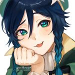 1boy androgynous bangs beret black_hair blue_hair blush bow braid cape collared_cape collared_shirt eyebrows_visible_through_hair flower frilled_sleeves frills genshin_impact gradient_hair green_eyes green_headwear hand_on_own_cheek hand_on_own_face hat hat_flower highres looking_at_viewer male_focus multicolored_hair open_mouth repost_notice shirt short_hair_with_long_locks simple_background smile snifflesmp4 solo symbol_commentary twin_braids twitter_username venti_(genshin_impact) white_background white_flower white_shirt