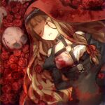 1girl bangs blood blood_splatter bloody_clothes blunt_bangs choker closed_eyes corset eyebrows_visible_through_hair flower gothic_lolita hair_ribbon little_red_riding_hood_(sinoalice) lolita_fashion long_sleeves lying on_back open_mouth parted_lips petals red_flower red_rose ribbon rose sidelocks sinoalice sketch skull sleeping smile solo teeth teroru veil