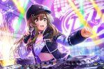 blush brown_eyes brown_hair cap d4dj jacket long_hair smile yamate_kyouko