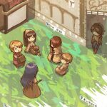 3boys 3girls acolyte_(ragnarok_online) archer_(ragnarok_online) armeyer_dinze bag bandana bangs bergamot_honda blonde_hair blue_shorts boots bow bow_(weapon) bow_bra bra brown_cape brown_capelet brown_dress brown_footwear brown_gloves brown_hair brown_headwear brown_jacket brown_pants brown_shirt brown_shorts cape cassock closed_mouth commentary_request day dress egnigem_cenia errende_ebecee from_above full_body gloves hair_between_eyes hair_over_one_eye hairband holding holding_bow_(weapon) holding_weapon jacket kavach_icarus laurell_weinder long_hair long_sleeves looking_at_another mage_(ragnarok_online) merchant_(ragnarok_online) multiple_boys multiple_girls muneate open_mouth outdoors pants ponytail purple_hair ragnarok_online red_bow red_dress red_hairband redhead shirt short_hair shorts shrug_(clothing) sitting smile swordsman_(ragnarok_online) thief_(ragnarok_online) translation_request underwear walking weapon white_bra wickebine_tres