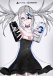1girl bare_shoulders black_choker black_dress black_eyepatch blue_eyes blush can choker circle collaboration cross_print dive_to_zone dress english_text eyepatch fingernails game_console glowing grey_hair hair_ornament hairclip highres holding holding_can letter_hair_ornament long_hair parted_lips playstation playstation_5 power_symbol power_symbol-shaped_pupils ram_(ramlabo) smile solo square twintails