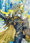 1boy armor artist_name blue_armor blue_eyes elidibus final_fantasy final_fantasy_xiv helmet horned_headwear horned_helmet ruka_(blueplus84) school_uniform serafuku shield signature silver_hair solo spoilers sword warrior_of_light weapon