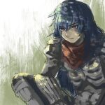 1boy armor armored_boots assassin_cross_(ragnarok_online) bangs bergamot_honda black_pants black_shirt blue_hair boots commentary_request eremes_guile eyebrows_visible_through_hair gauntlets hair_between_eyes long_hair looking_at_viewer male_focus open_clothes open_shirt pants parted_lips pauldrons ragnarok_online red_eyes red_scarf scarf shirt shoulder_armor solo