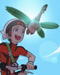 1boy :d absurdres backpack bag beanie bicycle brendan_(pokemon) brown_hair clouds commentary day flying from_below gen_3_pokemon green_bag grey_eyes ground_vehicle hat highres holding kyon_(artist) male_focus open_mouth outdoors pokemon pokemon_(creature) pokemon_(game) pokemon_oras riding_bicycle short_hair short_sleeves sky smile tongue tropius turtleneck upper_teeth watermark white_headwear zipper_pull_tab