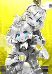 1boy 1girl aqua_nails bangs blue_eyes bow chair cheek_pull clenched_teeth commentary crossed_legs crown_print cup furrowed_brow greyscale hair_bow hair_ornament hairclip hand_on_another's_arm hand_on_another's_mouth headphones highres holding holding_cup jacket kagamine_len kagamine_rin kei_(keigarou) king_(vocaloid) light_blush looking_at_another looking_at_viewer monochrome mouth_pull nail_polish one_eye_closed open_mouth parody partially_colored short_hair sitting smile spiky_hair steam swept_bangs teeth two-tone_bow upper_body vocaloid yellow_background