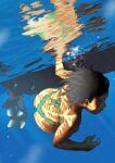 1girl arung_samudra_(cessa) ass bikini black_eyes cessa dark-skinned_female dark_skin day diving dutch_angle english_commentary green_bikini ocean ombok_diving_and_delivery_services reflective_water solo swimsuit underwater very_dark_skin water