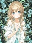 1girl bangs blonde_hair blush breasts clenched_hand commentary daisy dress english_commentary eyebrows_visible_through_hair flower frilled_dress frills green_eyes hand_up holding holding_jewelry holding_necklace jewelry konpeito1025 leaf long_hair looking_at_viewer medium_breasts necklace off_shoulder original sidelocks smile solo symbol_commentary upper_body wavy_hair white_dress white_flower